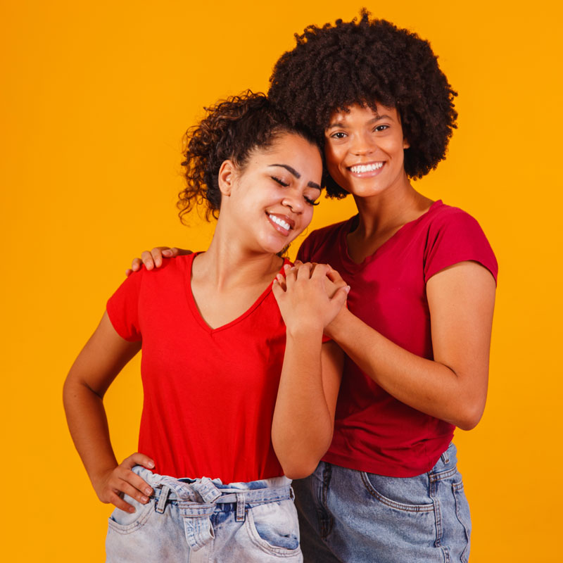 A young African-American lesbian couple posting together