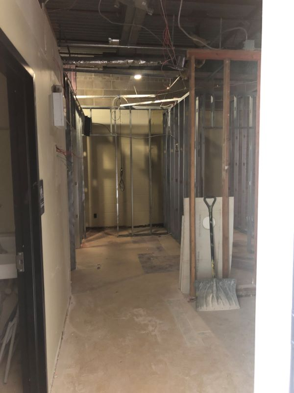 a hallway framed out in the process of remodeling