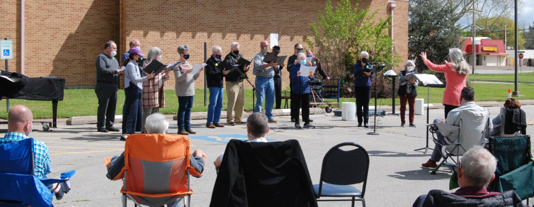 Choir singing outside of United Church of Christ Tulsa OK