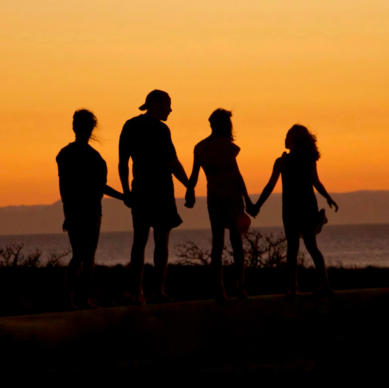 Family standing, holding hands and looking into the sunset.