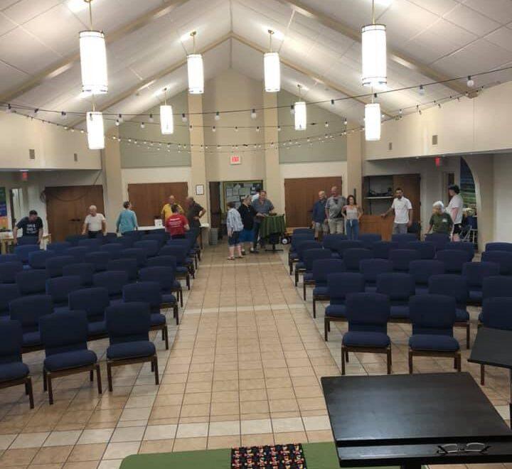 new chairs at Fellowship Congregational Church